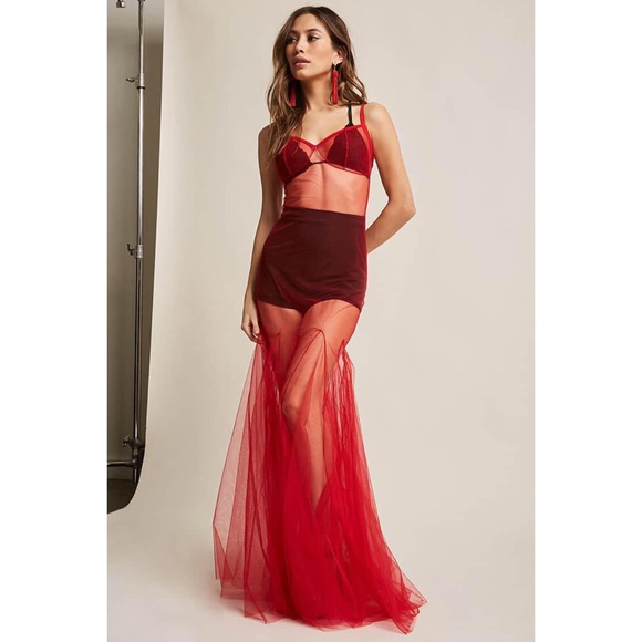 1325bc9ea6e Kiki Riki Red Mesh Sheer Tulle Maxi Dress